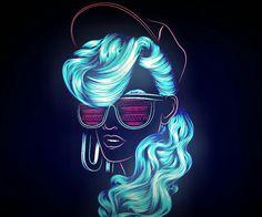 Undiz by Patrick Seymour on Behance Retro Futurism, Wallpaper, Illustration, Line Art, Neon Art, Neon Girl, Retro, Neon Wallpaper, Pop Art