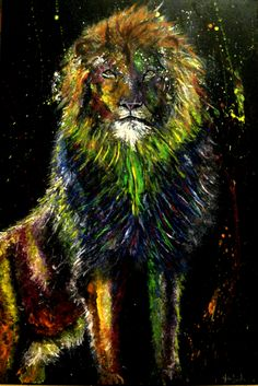 "Lion By Helen Leigh  Abstract Expressionist-Drip Painting (style)  Materials:  Acrylic and Metallic Paint on Canvas  LARGE 90cm x 60cm x 3.5cm (24"" x 36"") - Exhibition Grade Canvas."