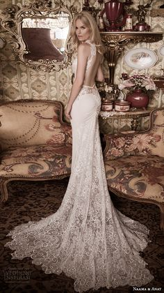naama anat fall 2016 bridal dresses beautiful sheath wedding dress lace strap v neckline lace bodice style gorgeous open low back