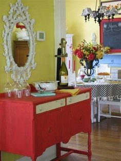 A Red, White and Black Checkered Palette of Charming Cottage and French Country Cheer! See More at thefrenchinspiredroom.com
