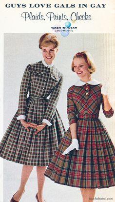 Montgomery Ward 1961 Fall & Winter Catalog. Adore both plaid dresses!