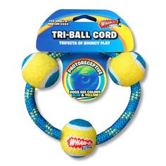 Wham-O Pets Tennis Tri-Ball Cord Ring Dog Toy for Small to Medium Dogs, 4.6', Blue/Yellow *** See this great product. (This is an affiliate link) #DogToys