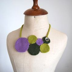 Necklace crochet circles Lilac & green  by idniama on Etsy, $50.00