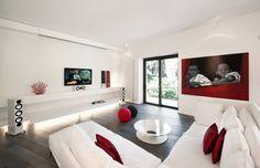red white modern minimalist living room