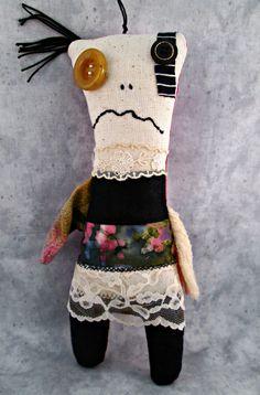 Monster Cloth Doll - Small Folk Art Doll - OOAK Stuffed Fiber Doll - Creepy Cute Textile Doll - Handmade Rag Doll - Misfit Cloth Doll