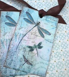 Dragonfly Tags - Vintage Dragonfly Tags -  Dragonfly Dreams - Set of 6 via Etsy