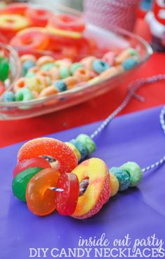 DIY Candy Necklaces – a fun and easy addition to a kids party! These were made f… DIY Candy Necklaces – a fun and easy addition to a kids party! These were made for a colorful Inside Out Party! Trolls Birthday Party, Troll Party, 6th Birthday Parties, Birthday Fun, Candy Land Birthday Party Ideas, Birthday Party Food For Kids, Games For Kids Party, Kid Parties, Princess Birthday Party Games