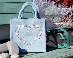 Small Blue Jute Bag with Button Heart, Handmade By Housewives