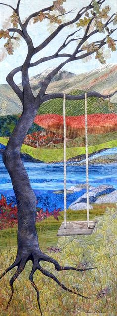 Waiting by Eileen Williams, included in ArtQuiltsRivers and ArtQuiltsWater at Cary Arts Center and Page-Walker Arts & History Center, Cary, North Carolina, through March 24, 2013