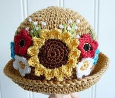 Free crochet sunflower pattern for this hat