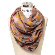 Scarfand's Mixed Infinity Brick Scarf           ($16.00) http://www.amazon.com/exec/obidos/ASIN/B009I37B84/hpb2-20/ASIN/B009I37B84 It can be worn with lots of different things. - It is very large and the material is light enough for warm weather yet you can wear it in the winter. - This scarf is very soft and it has ample fabric.