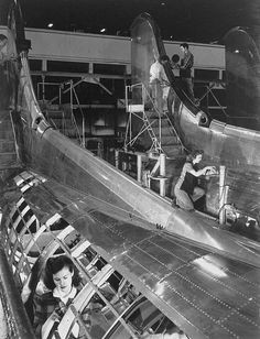 B-17 construction at the Boeing Aircraft plant near Seattle, Washington during World War II.