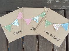 Set of 10 Thank You Cards, Rustic wedding, Kraft card with bunting of your choice thank you cards