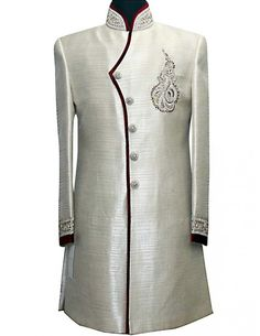 White with Red Stitching. Gents Fashion, Arab Fashion, African Men Fashion, Indian Bridal Fashion, Indian Wedding Outfits, Indian Outfits, Kaftan Designs, Mens Kurta Designs, Mens Ethnic Wear