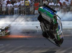 Carl Edwards' No. 99 car goes airborne in the 2009 Talladega race, one of the few instances of NASCAR stock cars flying.