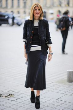 Sarah Rutson / black knit tube top / white sweater / black midi skirt / black jacket / Gorunway.com/Matteo Catena