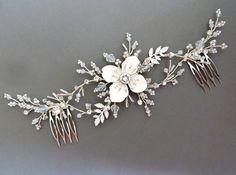 Leaf Bridal Headpiece Bridal hair comb Opal hair comb Wedding