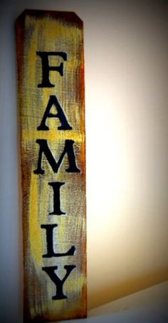 $20 Vertical sign comes ready to hang, made from recycled wood with hand stenciled lettering. Available in black, distressed white, or with a natural burlap fabric. Handcrafted by a skilled woodworker. Item is about 27 inches long and about 5 1/2 inches long wide.
