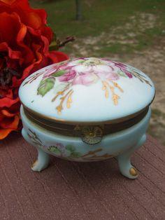 Vintage Kalk Porcelain Hinged Trinket Box 3 Legs Japan
