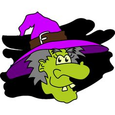 cute green faced witch clip art - Cute Halloween Witches