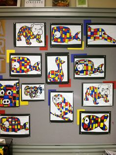 Mondrian inspired art by middle school students.