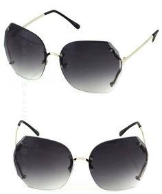 f91ced462cb Black Silver Oversize Rimless Retro Sunglasses Retro Sunglasses