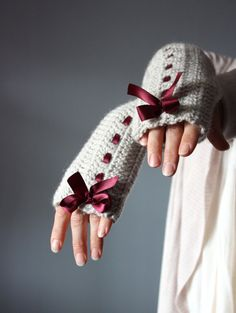 Crochet Fingerless Gloves Mittens Arm Warmers Grey linen epictt Casual Eco-Friendly satin ribbon burgundy wine cloud Silver Rain bow