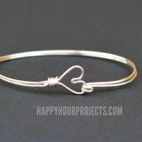 DIY Wire Wrapped Heart Bangle Bracelet