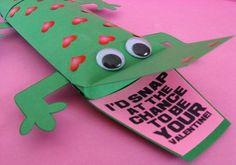 Alligator Pillow-box style Valentine. Time consuming- but too cute! I adapted these once to make Lizard favors for a bday party.