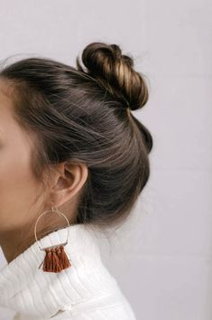 The Lulus Favorite Charm Gold and Rust Red Tassel Earrings are sure to be your new fave! Dainty gold wire hoops are finished with rust red tassel charms. Shoulder Length Hair, Mode Inspiration, Hair Day, Tassel Earrings, Silver Earrings, Silver Jewelry, Stud Earrings, Pretty Hairstyles, Formal Hairstyles