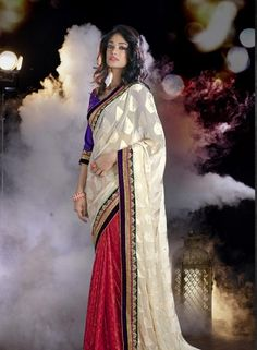 Off White & Red half and half shimmer saree with blouse H15188