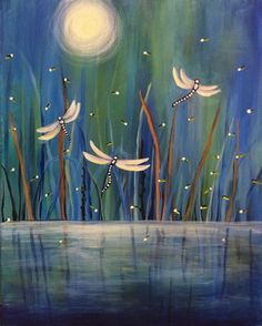 "Cute easy painting idea to practice water reflection, grass and the moon. ""Dance Of The Dragonflies""... add lights for lightening bugs & stars. Please also visit www.JustForYouPropheticArt.com for colorful Prophetic Art paintings and prints. Thank you so much! Blessings!"