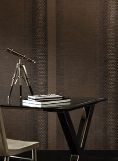 Magnetic Stripe Wallpaper in Taupe and Metallic design by Stacy Garcia for York Wallcoverings