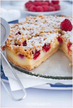Kruche ciasto z malinami - I Love Bake Take The Cake, Love Cake, Breakfast Recipes, Dessert Recipes, Summer Cakes, Let Them Eat Cake, No Bake Cake, Nutella, Sweet Recipes