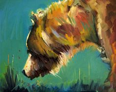Nosey Bear, oil painting by Diane Whitehead Abstract Animal Art, Bear Paintings, Art Sculpture, Bear Art, Wildlife Art, Painting & Drawing, Watercolor Paintings, Art Oil, Painting Inspiration