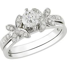 Round 5/8 Carat T.W. Diamond Bridal Ring Set in 10kt White Gold (One of the rings I like)