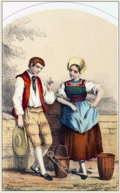 A couple in folk costume of the Swiss canton of Aargau, dated 1865.