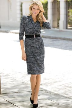 Belted Faux Wrap Dress: Classic Women's Clothing from #ChadwicksofBoston $35.99