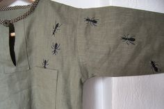 A blouse I made out of linen - and little ants embroidered