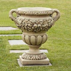 The Elegant stone Urn is available with or without plinth. Large Garden Planters, Metal Garden Benches, Stone Planters, Urn Planters, Garden Urns, Decorative Planters, Garden Tools, Large Garden Ornaments, Pedestal