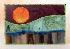 Fabric postcard, landscape quilt, small art by JPG Studio 2536