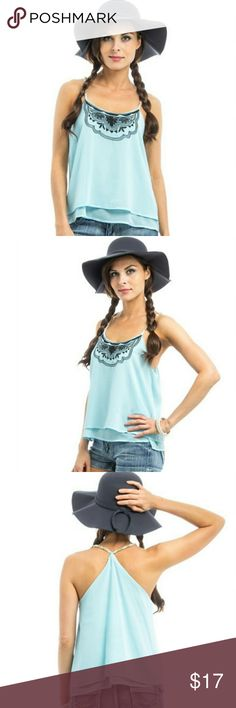 Sky blue tribal boho print trim chiffon tank Beautifully detailed and free-flowing tank top. Chain criss-cross neckline and a chiffon finish, perfect summer combination!  100% Polyester  #BBFASHION Tops Tank Tops