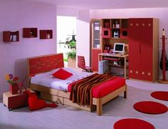 Small Bedroom Colors And Designs With Masculine Black Bed Design For Small Bedroom Color Schemes~ Popular Home Interior Decoration Red Bedroom Design, Romantic Bedroom Design, Modern Bedroom Decor, Bedroom Red, Girl Bedroom Designs, Couple Bedroom, Girls Bedroom, Interior Design, Red Bedrooms
