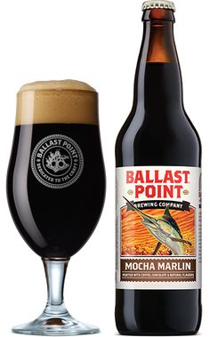 MOCHA MARLIN (Porter With Coffee and Chocolate)   Coffee and chocolate come together in this brew. Our Black Marlin Porter is the perfect beer for a mocha mashup. The addition of coffee and cocoa plays perfectly off the roasty, chocolaty flavors of this English porter, while a hint of vanilla smoothes it all our. It's full-bodied, but not too sweet; try it for breakfast…or dessert.