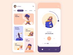 Mobile App - Mindfulness by Outcrowd on Dribbble Hey Dribbblers! Feeling stressed or anxious? We've spotted there are a lot of meditation apps nowadays, however, most of them lack uniqueness and modern look. Our solution is the mobile app for lis. Web Design Trends, Design Ui Ux, Application Ui Design, Application Mobile, Design Blog, Interface Design, Design Concepts, User Interface, Design Layouts