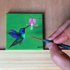 Flowers art painting acrylic canvas ideas New Ideas Small Canvas Paintings, Small Canvas Art, Mini Canvas Art, Small Paintings, Small Art, Bird Painting Acrylic, Hummingbird Painting, Butterfly Painting, Acrylic Painting Canvas