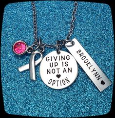 Cancer awareness Jewelry, Cancer jewelry, Awareness gift, Giving Up Is Not An Option, Cancer Diagnosis Gift, Cancer survivor Gift, ENGRAVED by ThatKindaGirl on Etsy