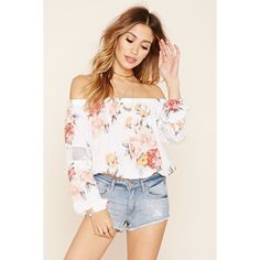 Forever 21 Women's  Floral Off-the-Shoulder Blouse ($20) ❤ liked on Polyvore featuring tops, blouses, off shoulder blouse, white off shoulder top, white blouse, white chiffon top and white top