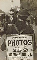 """Sandwich-Man"" Advertising Washington Street Photo Studio, Walker Evans, about 1930. © Walker Evans Archive, The Metropolitan Museum of Art"