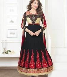 Buy Black embroidered georgette semi stitched salwar with dupatta party-wear-salwar-kameez online